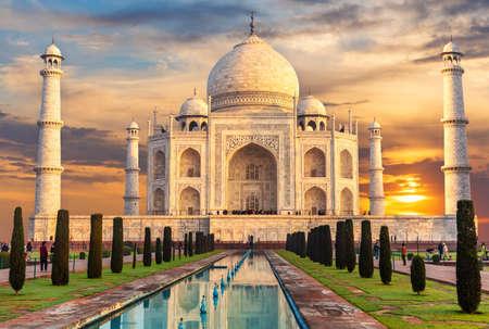 Taj Mahal at sunset, famous place of visit, India, Agra.