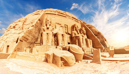 Abu Simbel panorama, view of the Great Temple of Ramesses II, Nubia, Egypt