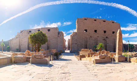 Ancient Karnak Temple in Luxor, Egypt, main entrance view
