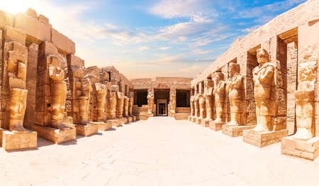 Karnak Temple most famous view, sunny day in Luxor, Egypt