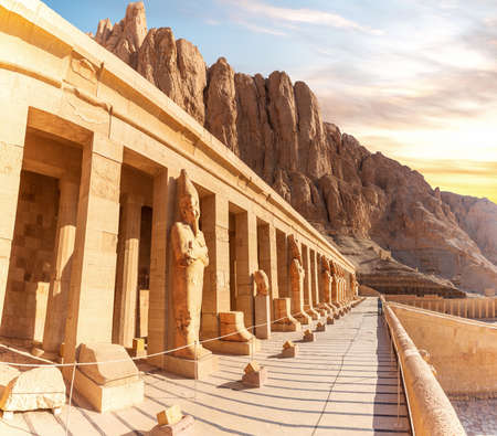 Mortuary Temple of Hatshepsut, northern colonnaded facade of the upper terrace, Luxor, Egypt