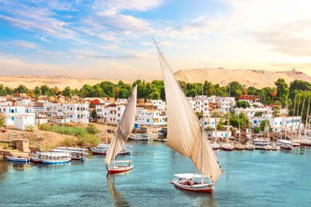 Traditional view of Aswan, the Nile and sailboats, Egypt
