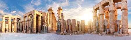 Ancient Luxor Temple view, sunset panorama, Egypt.