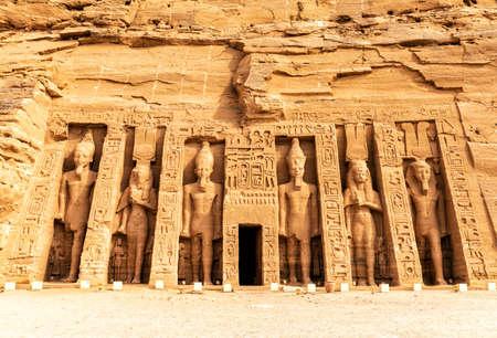Abu Simbel, the Small Temple of Hathor and Nefertari, Egypt. 免版税图像