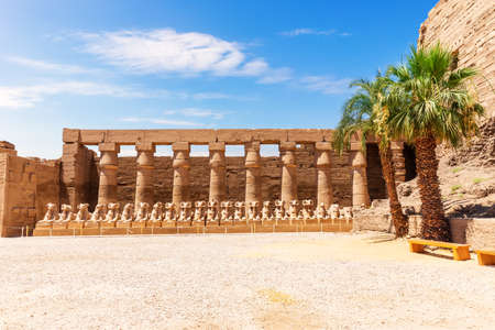 Karnak Temple, the row of ram-headed sphinxes inside the Great Court, Luxor, Egypt.