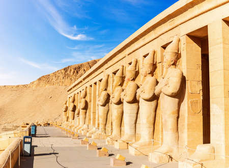 Mortuary Temple of Hatshepsut, northern colonnaded facade of the upper terrace, Luxor, Egypt.
