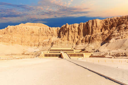 The Djeser-Djeseru or the Mortuary Temple of Hatshepsut, main view, Luxor, Egypt.