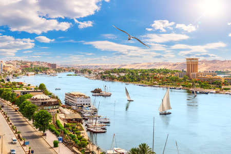 Aswan downtown, panoramic view on the Nile, Egypt.