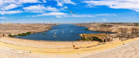 Aswan High Dam beautiful sunny day panorama, Egypt.