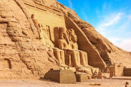 Abu Simbel temple, main facade statues, Egypt.