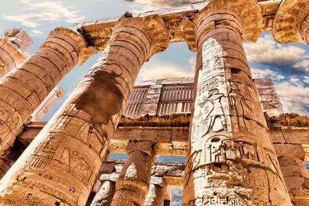 Columns of the Great Temple of Amun, Karnak, Luxor, Egypt.