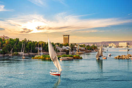 The Nile and the sailboats, famous view of Aswan, Egypt