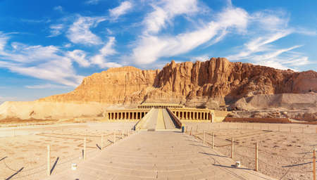 The Mortuary Temple of Hatshepsut or the Djeser-Djeseru panorama, Luxor, Egypt
