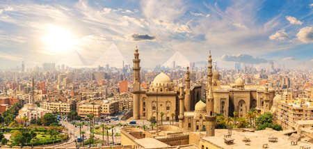 Mosque-Madrasa of Sultan Hassan, beautiful panorama of Cairo landmarks, Egypt.