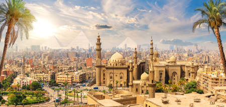 Mosque-Madrasa of Sultan Hassan behind the palm trees, Cairo, Egypt
