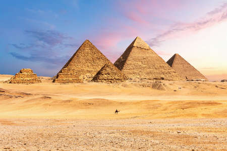Famous Great Pyramids of Egypt, Giza, Cairo district