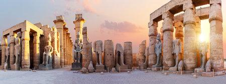 Luxor Temple pillars, beautiful sunset panorama, Egypt