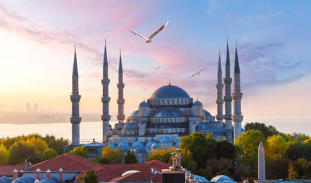 The Blue Mosque or Sultan Ahmet Mosque at sunrise, Istanbul, Turkey
