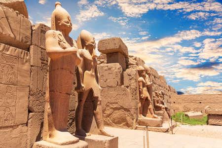 Statues of Thutmes III, 7th Pylon of Karnak Temple, Luxor, Egypt