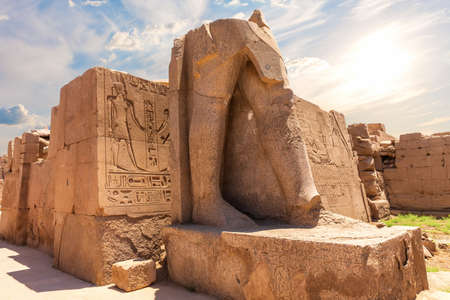 Ancient statue remnants, Karnak Temple of Luxor, Egypt