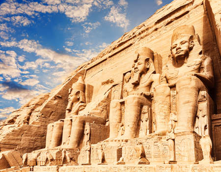 Abu Simbel temple, close facade view, Upper Egypt.