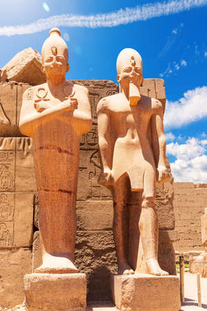 Ancient Statues of Thutmes III, Karnak Temple Pylon, Luxor, Egypt.
