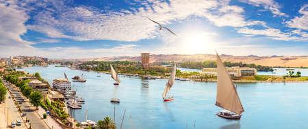 Aswan city and sailboats beautiful Nile panorama, aerial view, Egypt