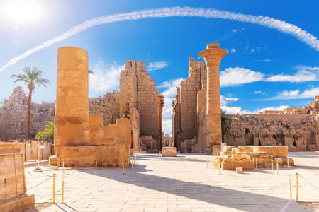 The Great Hypostyle Hall of the Karnak Temple, famous ancient place of visit of Luxor, Egypt.