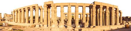 Luxor Temple Hall Pillars, full panorama, Egypt.