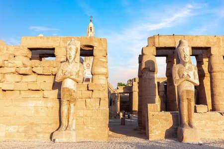 Luxor Temple Pylon Statues, sunny day view, Egypt.