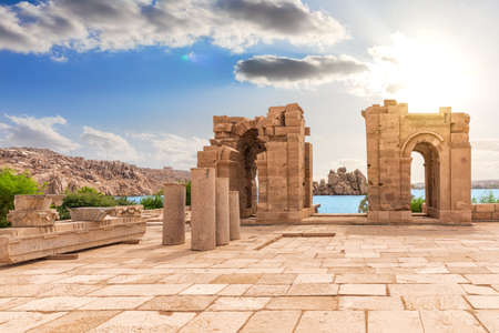 Philae Temple arch ruins, Aswan, upper Egypt.