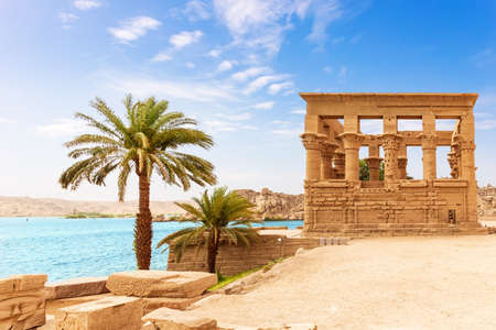 Trajan's Kiosk of the Philae Temple by the Nile, Aswan, Egypt.