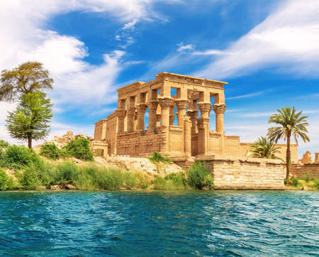 Trajan's Kiosk or the Pharaoh's Bed of the Philae Temple, view from the Nile, Aswan, Egypt.