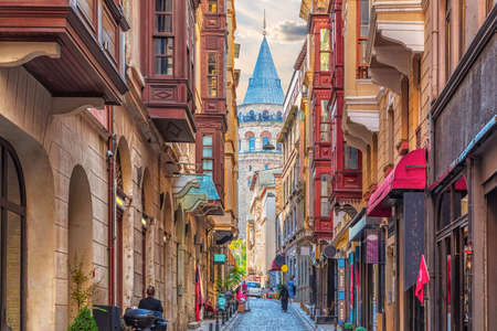 Narrow turkish street by the Galata Tower of Istanbul.