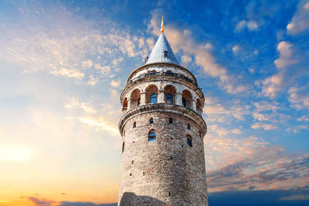 Galata Tower at sunset in the center of Istanbul, Turkey.