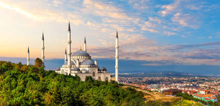 Beautiful Camlica Mosque and panorama of Istanbul at sunset, Turkey.