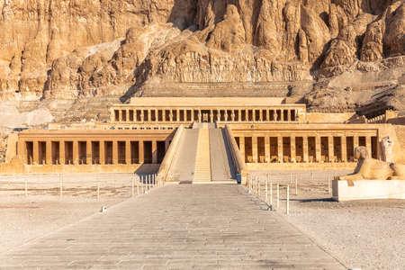 Beautiful Hatshepsut Temple, main facade view, Luxor Egypt