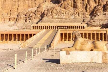 Sphinx Statue by the Hatshepsut Temple of Luxor, Egypt.