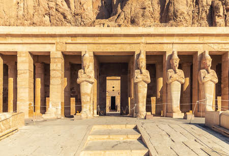 Hatshepsut Temple, upper terrace statues in the entrance, Luxor, Egypt