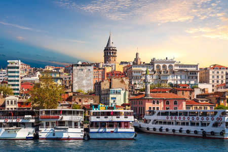 Ships near the Karakoy pier of Istanbul, view from the Golden Horn, Turkey