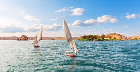 Sailboats of the Nile, Aswan banks, Egypt