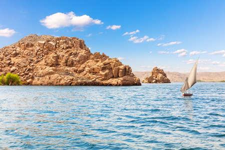 The Nile view, islands in the Lake Nasser, Aswan region, Egypt.
