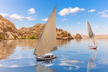 Beautiful Sailboats near Agilkia island, Philae, Aswan, Upper Egypt