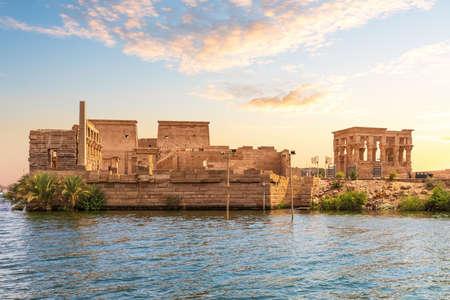 Philae island and Trajans Kiosk in the Nile, Aswan, Egypt