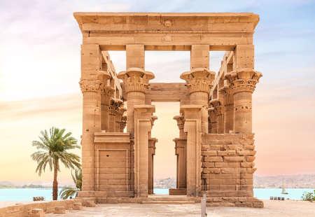 Trajans Kiosk on Agilkia Island by the Nile, Aswan, Egypt