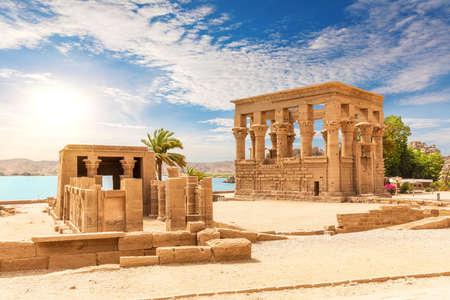 Trajans Kiosk and Hathor temple on Philae island in the Nile, Aswan, Egypt