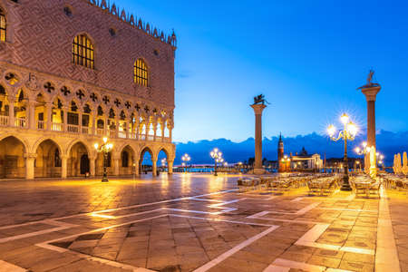 Venetian Square Piazza San Marco with Column of San Teodoro and and Doges Palace, Venice