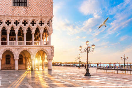 Doges Palace and gondolas pier on Piazza San Marco, Venice, Italy