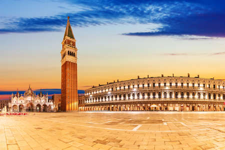 Piazza San Marco with Basilica of Saint Mark at sunset, Venice, Italy