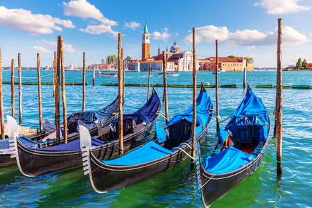 Gondolas moored near San Giorgio Maggiore Island, Venice, Italy 版權商用圖片